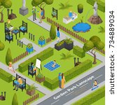 garden park landscape with... | Shutterstock . vector #734889034