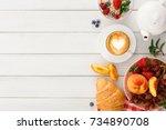 rich continental breakfast.... | Shutterstock . vector #734890708