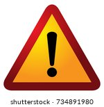 red triangle warning alert sign ... | Shutterstock .eps vector #734891980
