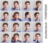 young man emotional faces ... | Shutterstock . vector #734893060