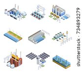 isometric images set of...   Shutterstock . vector #734893279