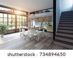 modern kitchen interior. 3d... | Shutterstock . vector #734894650