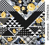 seamless floral pattern with... | Shutterstock .eps vector #734896366
