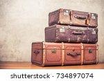 vintage old classic big travel... | Shutterstock . vector #734897074