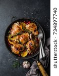 roasted  chicken with orange ... | Shutterstock . vector #734897740
