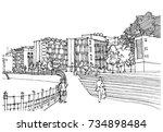 scene street illustration. hand ... | Shutterstock .eps vector #734898484