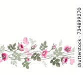 seamless floral border with... | Shutterstock .eps vector #734899270