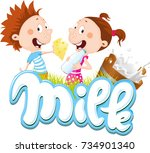 milk design with children... | Shutterstock .eps vector #734901340