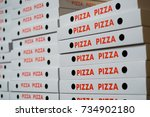 stack of pizza boxes   many... | Shutterstock . vector #734902180