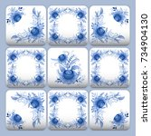 cobalt blue flower pattern... | Shutterstock .eps vector #734904130