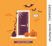 halloween front door house... | Shutterstock .eps vector #734905093