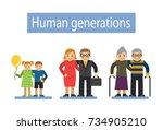three pairs of generations... | Shutterstock . vector #734905210