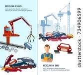 car scrap metal dump vector.... | Shutterstock .eps vector #734906599