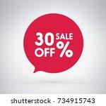 30  offer label sticker  sale... | Shutterstock .eps vector #734915743