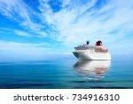 big cruise liner moored in... | Shutterstock . vector #734916310