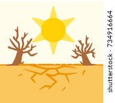 drought. the scorching sun  the ... | Shutterstock .eps vector #734916664