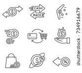 cashback reward program icon... | Shutterstock .eps vector #734916679