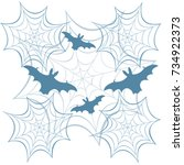 obwebs and bats. halloween... | Shutterstock .eps vector #734922373