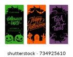 happy halloween set. party... | Shutterstock .eps vector #734925610