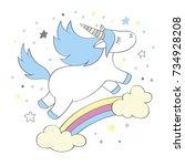 magic cute unicorn in cartoon... | Shutterstock .eps vector #734928208