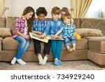 kids looking through photo...   Shutterstock . vector #734929240