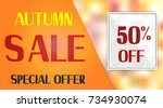 autumn sale background with... | Shutterstock .eps vector #734930074