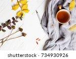 autumn flatlay on wooden... | Shutterstock . vector #734930926