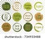 vector organic labels  bio... | Shutterstock .eps vector #734933488