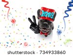 french bulldog dog celebrating... | Shutterstock . vector #734933860