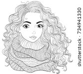 vector hand drawn young curly... | Shutterstock .eps vector #734941330