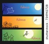 set of vector crayon drawn... | Shutterstock .eps vector #734942728