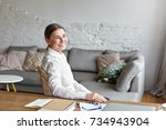 picture of cheerful middle aged ... | Shutterstock . vector #734943904