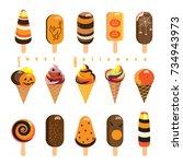 halloween ice cream and... | Shutterstock .eps vector #734943973