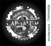 capitalism on grey camouflage... | Shutterstock .eps vector #734944006