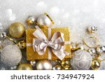 christmas gift box with... | Shutterstock . vector #734947924