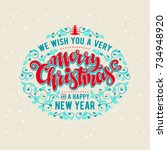 we wish you a very merry...   Shutterstock .eps vector #734948920