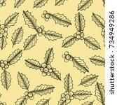christmas mistletoe  vector... | Shutterstock .eps vector #734949286