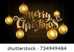 merry christmas golden text.... | Shutterstock .eps vector #734949484