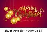 merry christmas golden text.... | Shutterstock .eps vector #734949514