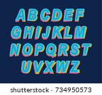 cartoon style colorful alphabet ... | Shutterstock .eps vector #734950573