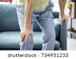 old man suffering from knee pain | Shutterstock . vector #734951233