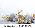 christmas festive background... | Shutterstock . vector #734951380