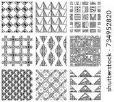 seamless vector pattern. black... | Shutterstock .eps vector #734952820