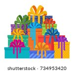 big pile of christmas gifts in...   Shutterstock .eps vector #734953420