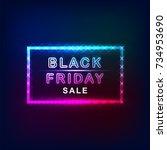 vector black friday banner neon ... | Shutterstock .eps vector #734953690