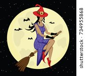 witch on a moon background... | Shutterstock .eps vector #734955868