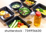 daily meals in  boxes. healthy... | Shutterstock . vector #734956630
