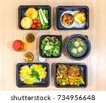 daily meals in  boxes. healthy... | Shutterstock . vector #734956648