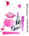 pattern of a pink lipstick  lip ... | Shutterstock . vector #734957698
