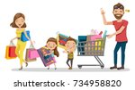 family shopping in holiday.... | Shutterstock .eps vector #734958820
